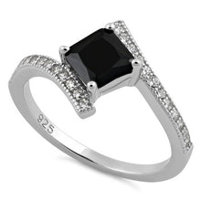 Load image into Gallery viewer, Sterling Silver Elegant Princess Cut Black CZ Ring