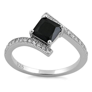 Sterling Silver Elegant Princess Cut Black CZ Ring