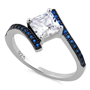 Sterling Silver Elegant Princess Cut Blue Spinel Clear CZ Ring