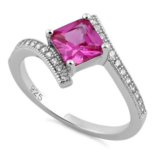Sterling Silver Elegant Princess Cut Pink CZ Ring