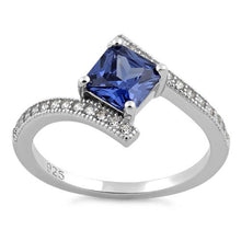 Load image into Gallery viewer, Sterling Silver Elegant Princess Cut Tanzanite CZ Ring