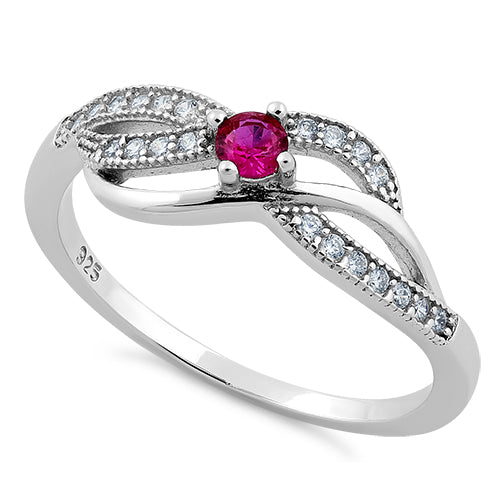 Sterling Silver Elegant Dark Pink CZ Ring