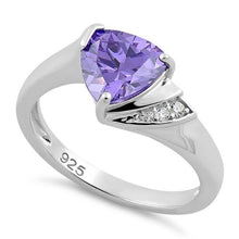 Load image into Gallery viewer, Sterling Silver Elegant Trillion Cut Amethyst CZ Ring