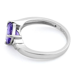 Sterling Silver Elegant Trillion Cut Amethyst CZ Ring