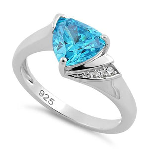 Sterling Silver Elegant Trillion Cut Aqua Blue CZ Ring