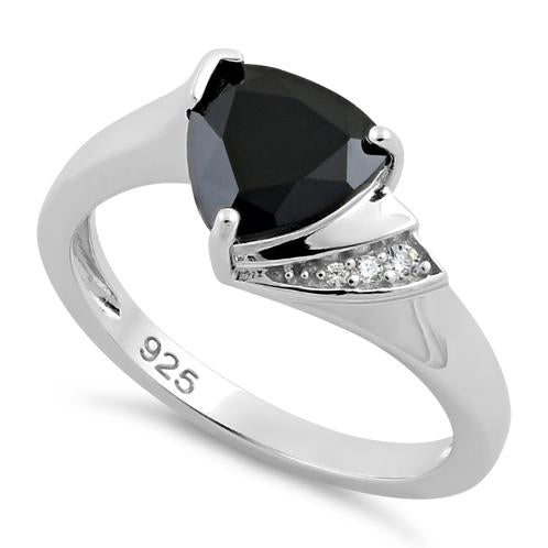 Sterling Silver Elegant Trillion Cut Black CZ Ring