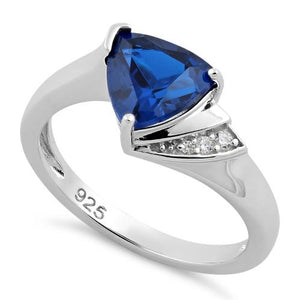 Sterling Silver Elegant Trillion Cut Blue Spinel CZ Ring