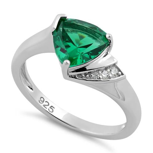 Sterling Silver Elegant Trillion Cut Emerald CZ Ring