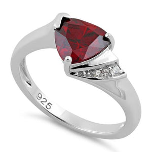 Sterling Silver Elegant Trillion Cut Garnet CZ Ring