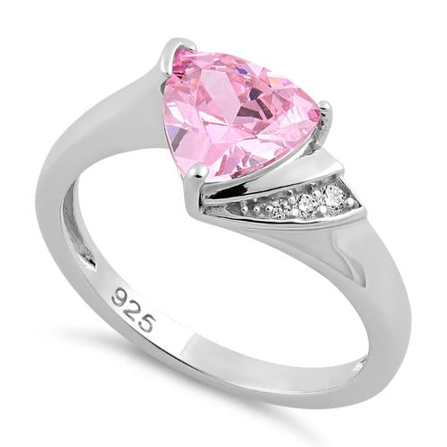 Sterling Silver Elegant Trillion Cut Pink CZ Ring