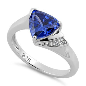 Sterling Silver Elegant Trillion Cut Tanzanite CZ Ring