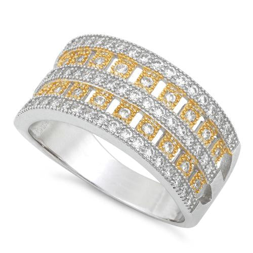 Sterling Silver Elegant Two-tone Gold Plated Pave CZ Ring