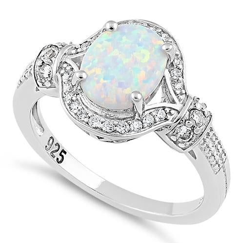 Sterling Silver Elegant White Oval Lab Opal CZ Ring