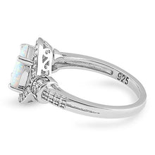 Load image into Gallery viewer, Sterling Silver Elegant White Oval Lab Opal CZ Ring