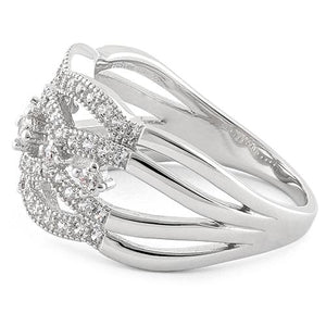 Sterling Silver Eloquent Round Clear CZ Ring