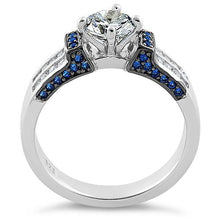 Load image into Gallery viewer, Sterling Silver Eloquent Round & Emerald Cut Clear & Blue Spinel CZ Ring