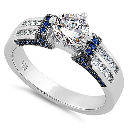 Sterling Silver Eloquent Round & Emerald Cut Clear & Blue Spinel CZ Ring