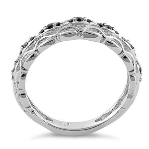 Sterling Silver Elysian Round Cut Black CZ Ring