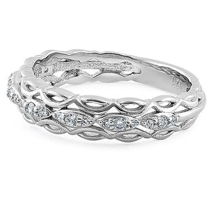 Sterling Silver Elysian Round Cut Clear CZ Ring