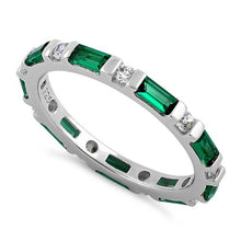 Load image into Gallery viewer, Sterling Silver Emerald and White CZ Eternity Ring