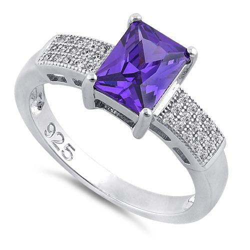 Sterling Silver Emerald Cut Amethyst CZ Ring
