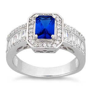 Sterling Silver Emerald Cut Blue Sapphire Clear CZ Ring