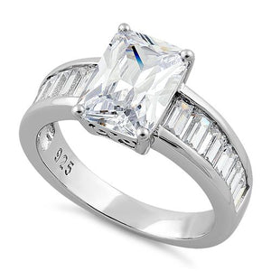Sterling Silver Radaint Cut Clear CZ Ring