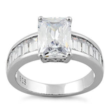 Load image into Gallery viewer, Sterling Silver Radaint Cut Clear CZ Ring