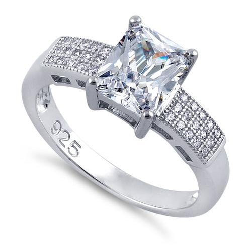 Sterling Silver Radiant Cut Clear CZ Ring