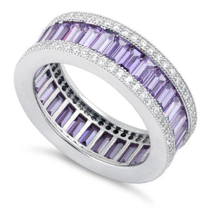 Sterling Silver Emerald Cut Eternity Pave Amethyst CZ Ring