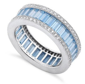 Sterling Silver Emerald Cut Eternity Pave Aquamarine CZ Ring