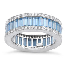 Load image into Gallery viewer, Sterling Silver Emerald Cut Eternity Pave Aquamarine CZ Ring