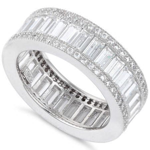 Sterling Silver Emerald Cut Eternity Pave CZ Ring