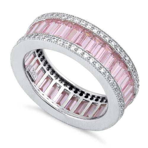 Sterling Silver Emerald Cut Eternity Pave Pink CZ Ring