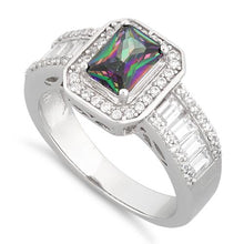 Load image into Gallery viewer, Sterling Silver Emerald Cut Rainbow Topaz Clear CZ Ring