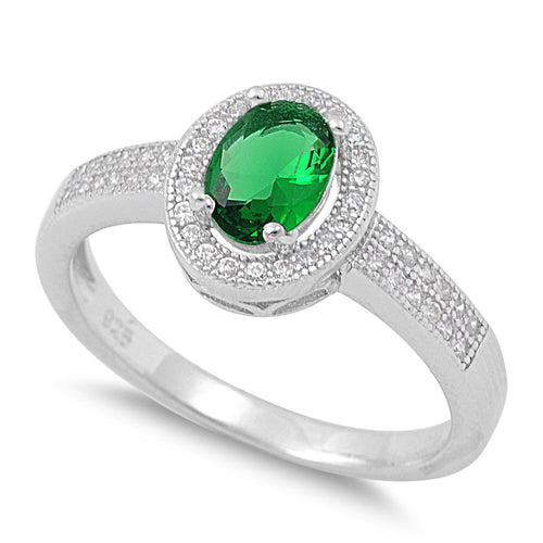 Sterling Silver Emerald CZ Oval Halo Ring