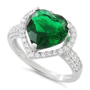Sterling Silver Emerald Heart Halo CZ Ring