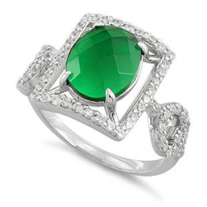 Sterling Silver Emerald Oval Framed CZ Ring