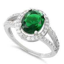 Load image into Gallery viewer, Sterling Silver Emerald Oval Halo CZ Ring