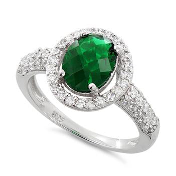 Sterling Silver Emerald Oval Halo CZ Ring
