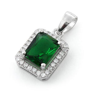 Sterling Silver Emerald Rectangular CZ Pendant