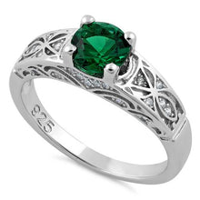 Load image into Gallery viewer, Sterling Silver Emerald Round Cut Engagement CZ Ring