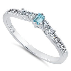 Sterling Silver Emerald Cut Aquamarine & Clear CZ Ring