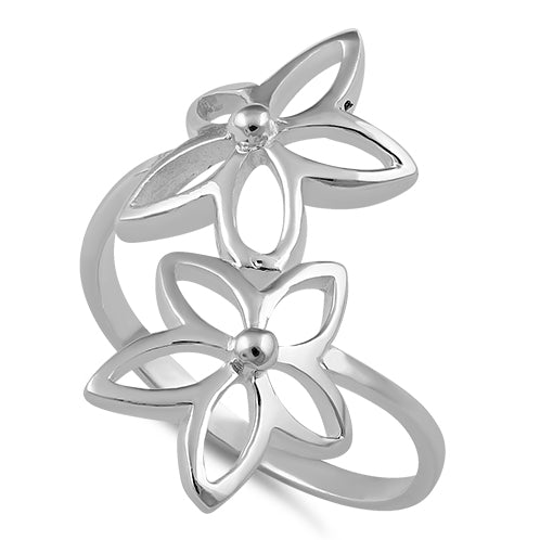 Sterling Silver End to End Flower Ring