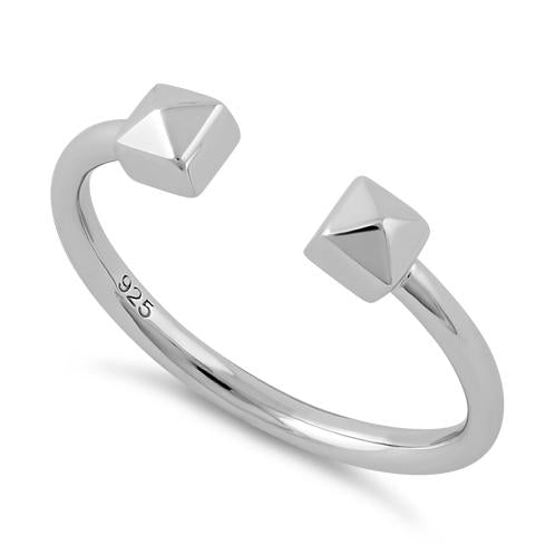 Sterling Silver End to End Pyramid Square Ring