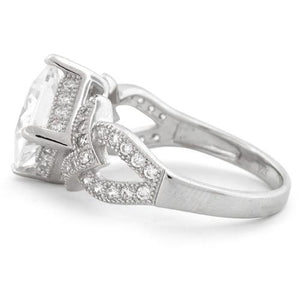 Sterling Silver Engagement Pave CZ Ring