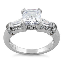 Load image into Gallery viewer, Sterling Silver Engagement Princess Cut CZ Ring