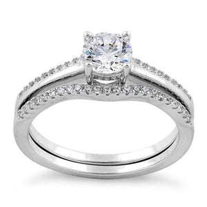 Sterling Silver Engagement Set CZ Ring
