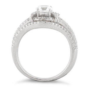Sterling Silver Engagement X Pave CZ Set Ring