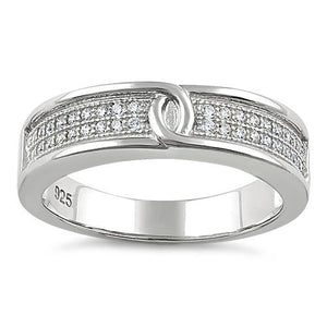 Sterling Silver Entwined Clear CZ Ring